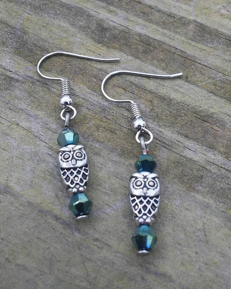 Small Owl Metal Bead Earrings Crystal Accent Dangle Earrings image 0