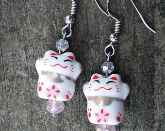 Maneki Neko  Happy Cat Lucky Cat Earrings, Crystal Accent Ceramic Beaded Earrings, Handmade Dangle Boho Earrings, Graduation Gift
