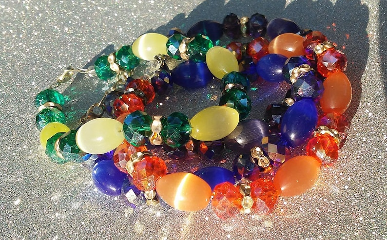 Handmade Beaded Crystal Bracelet Cats-eye Bracelet Boho image 0
