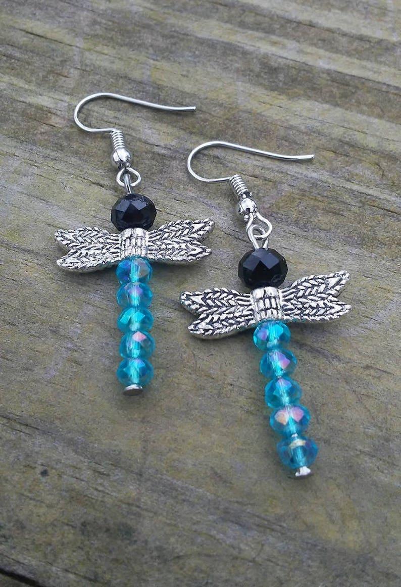 Handmade Dragonfly Earrings Crystal Beaded Earrings Multiple image 0