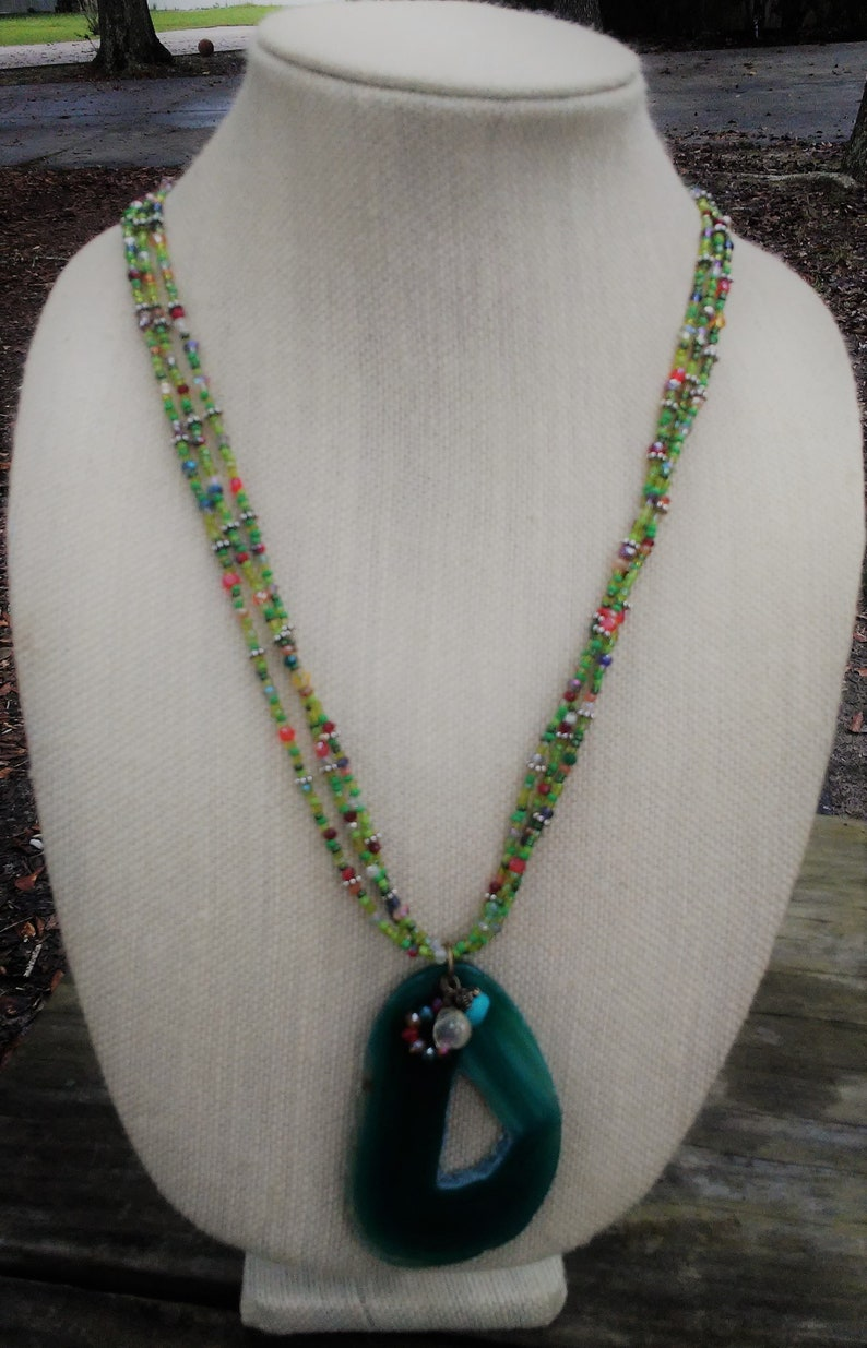 Green Crystal Beaded Necklace with Agate Pendant Multi-strand image 0