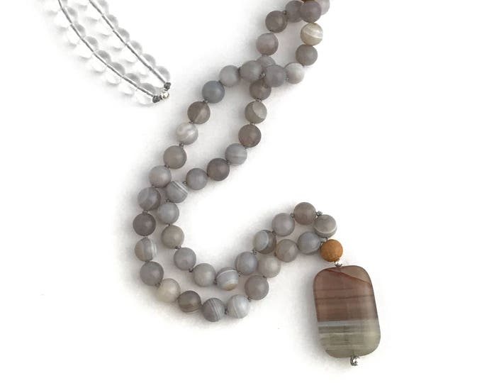 grey agate and quartz 108 bead mala necklace - essential oil necklace , essential oil jewelry, mala beads , long beaded necklace