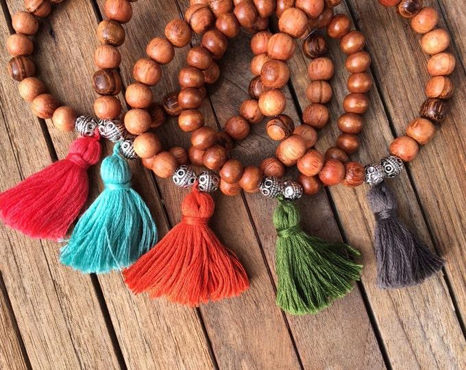 Mala wood tassel bracelet-Light