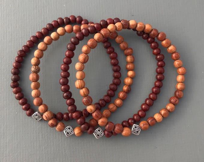 men's wood beaded mala bracelet