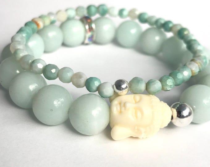 amazonite stack mala bracelets with buddha, stretch bracelet, beaded bracelet, buddha bracelet, yoga jewelry, yoga bracelet, aqua bracelet