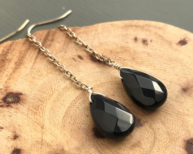 onyx long drop earrings