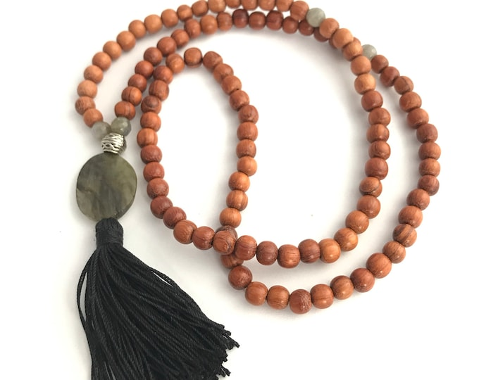 SALE men's 108 mala necklace wood with grey labradorite and black tassel , 108 bead mala, men's mala ,