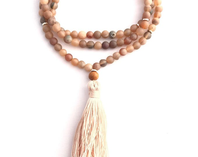 delicate druzy peach agate mala necklace