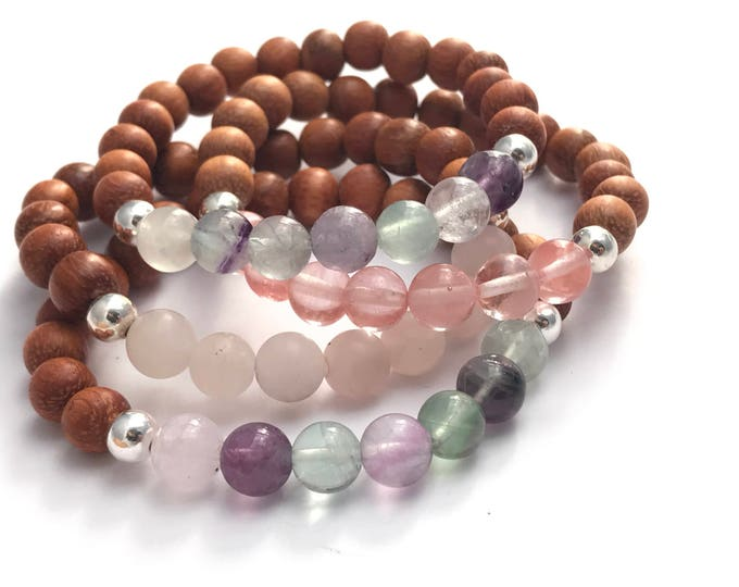 stack gemstone and wood mala bracelets, wood bracelet, gemstone bracelet, layer bracelet, stretch bracelet, yoga bracelet, yoga jewelry