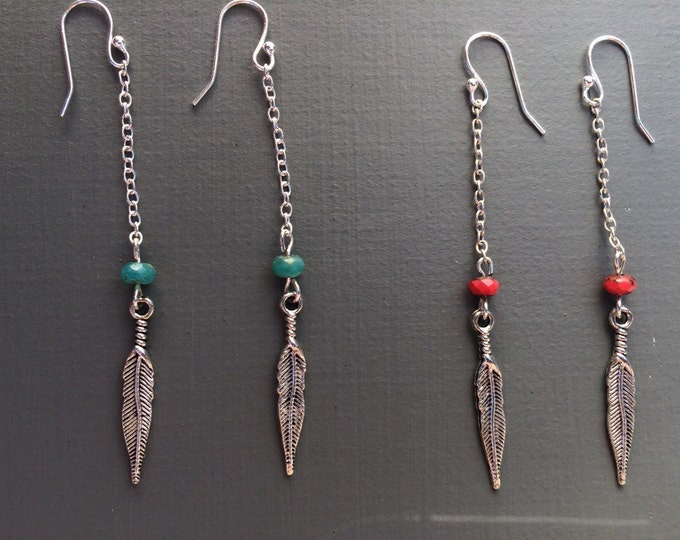 silver feather long drop earrings, southwest earrings, feather earrings, boho chic jewelry, bohemian jewelry, long earring