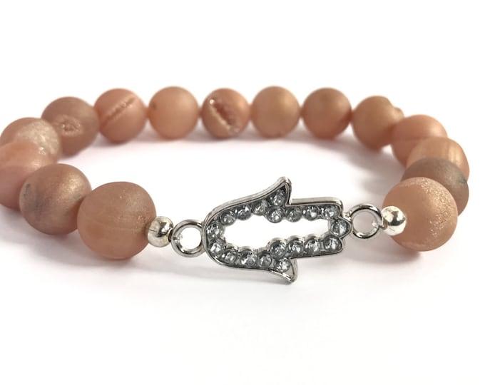 peach druzy agate mala bracelet with crystal hams, stretch bracelet, yoga bracelet, yoga jewelry, hamsa bracelet, peach bracelet, beaded