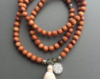 Wood 108 bead mala necklace stretch wrap bracelet with SPRING/SUMMER customizable tassel and charm, boho chic, yoga necklace, yoga jewelry