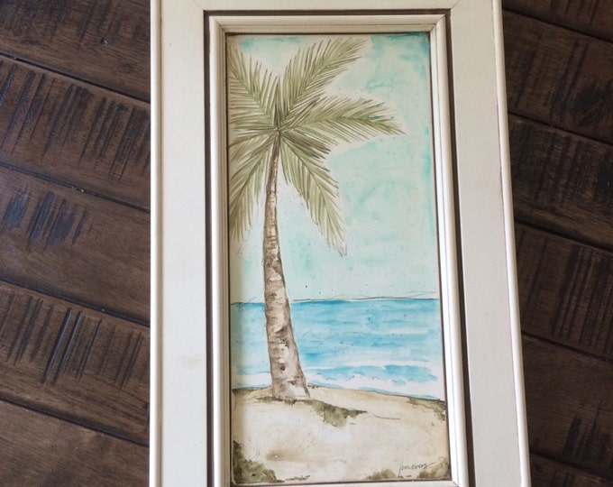 OOAK palm tree painting on repurposed door with frame SALE 50 percent off was 85 now 42.50, palm tree art, recycled art, repurposed art