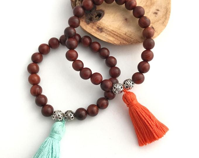 Mala wood mala tassel bracelet -Dark