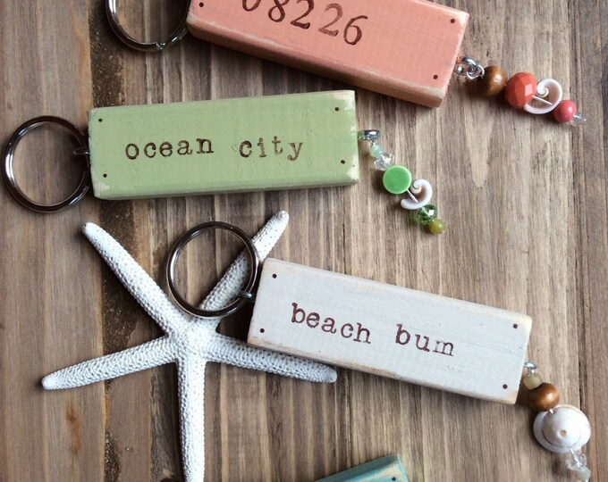Custom beach house beaded key chain housewarming gift