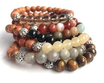 stack gemstone and wood mala bracelet