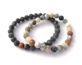 mens beaded mala bracelet matte unpolished gemstone beaded bracelet men's yoga bracelet