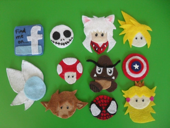 What's'erFace - Custom Felt Characters - Pin, Magnet, Ornament, Hair Clip
