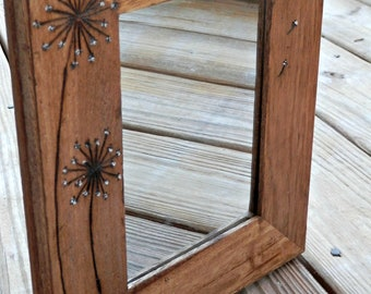 Dandelion - Woodburned Mirror - Rustic Wood Mirror