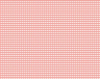 """FABRIC GINGHAM CORAL small check 1/8"""" by Riley Blake   We combine shipping"""