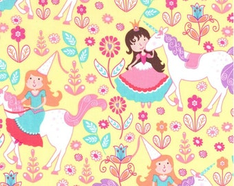Clearance FABRIC PRINCESSES and UNICORNS on Yellow Michael Miller 1/2 Yard