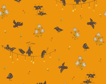FABRIC CALICO CROW Crows on the line  We combine shipping