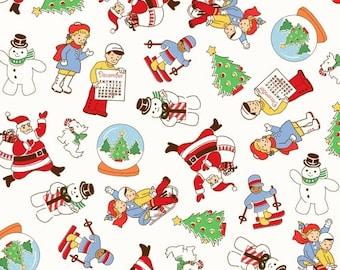 Clearance FABRIC STORYBOOK CHRISTMAS December Calendar Kids on White 1/2 Yard