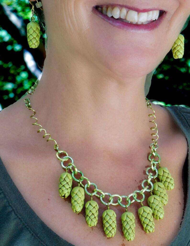 Original Beer Goddess Necklace Beer Geek Gift Hop Head Accessories Beer Diva Statement Necklace Hop Jewelry Beer Gear