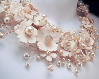 Floral Statement Bridal Necklace, Pearls, Crystals, Custom made, Really Unique Bridal Jewelry, Custom Wedding  Jewelry