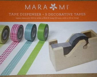 Old fashion vintage appeal wooden tape dispenser with 5 rolls of decorative tapes