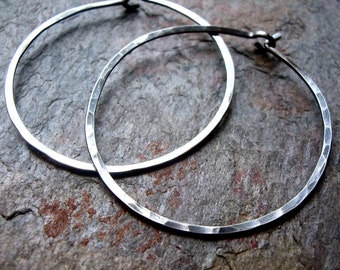 Sterling Silver Hoop Earrings - Handmade Lightweight Hammered Sterling Silver Hoops