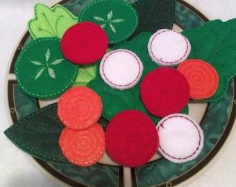 Felt play food - pretend food - play kitchen food - felt healthy Salad 16 Piece Set #PF2506