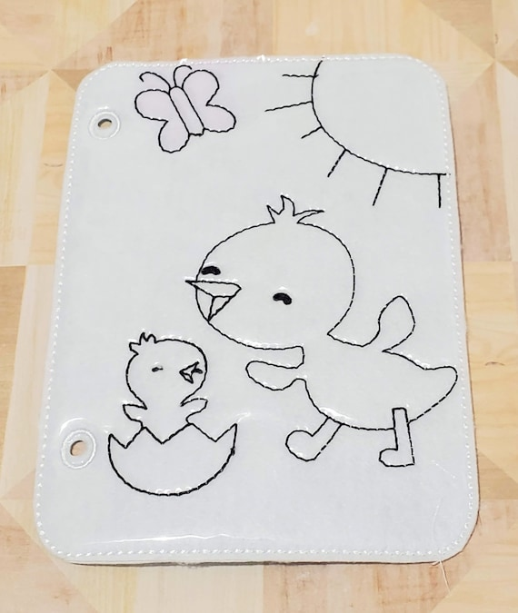 Quiet book Chick with baby reusable coloring quiet book page for kids QB193