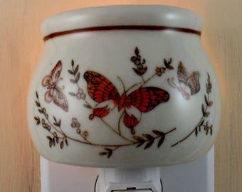 Three Butterfies On China Candle Holder Shades of Brown Custom Night Light