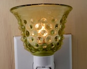 Fenton Vintage Olive Green Glass Bell With Hobnail Pattern Custom Made Night Light