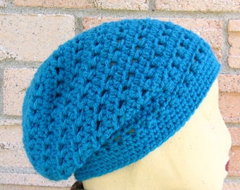 Slouchy Beanie, Turquoise, Spring Fashion , Trendy fashion, Crocheted ,Gift for Her