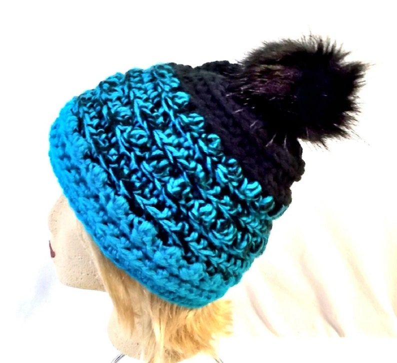 Crocheted Bumpy Beanie Winter hat with Faux fur pompom