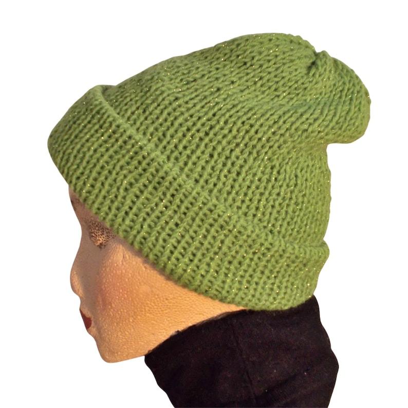 Machine Knit Beanie Sparkling Green Womens  Beanie Double layer beanie Classic Winter Toque