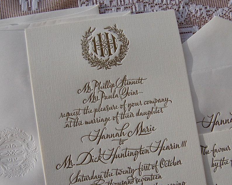 Large Letterpress Wedding Invitation Sample Gold Suite Invitations Monogram