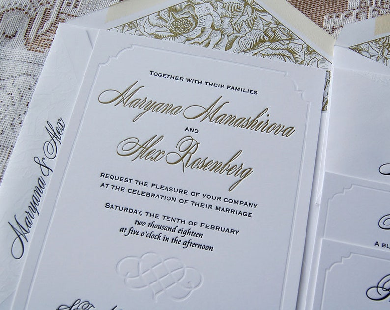 Letterpress Wedding Invitation Sample Classic Suite Modern