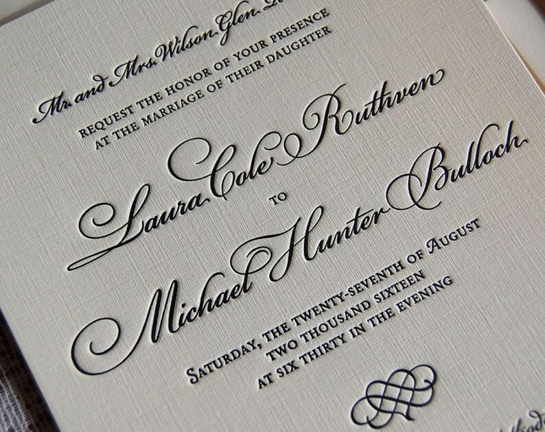 Letterpress Wedding Invitation Sample Traditional Suite Custom Invitations