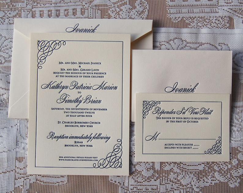 Letterpress Wedding Invitation DEPOSIT Simple Classic Invitations Custom