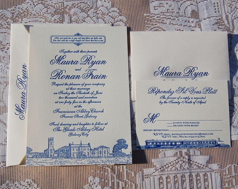 Letterpress Wedding Invitation DEPOSIT Classic Illustrated Suite