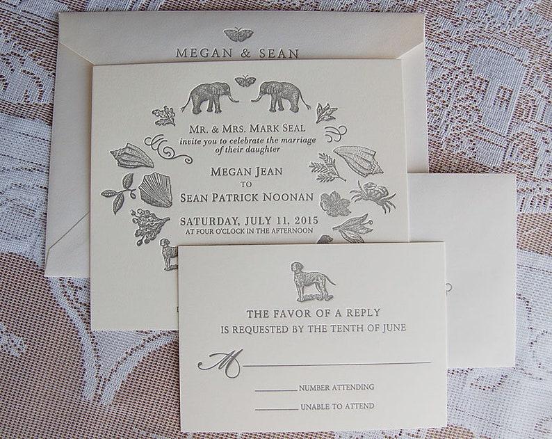 Letterpress Wedding Invitation DEPOSIT Whimsical Invitations Custom