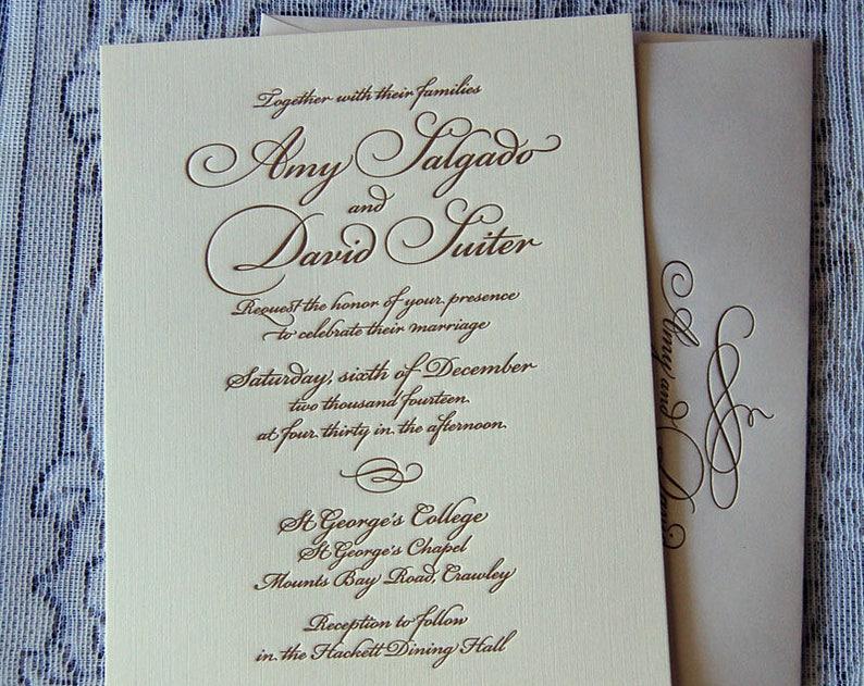 Letterpress Wedding Invitation DEPOSIT Gold Suite Script
