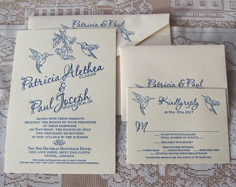 Letterpress Wedding Invitation DEPOSIT Hummingbirds Invitations