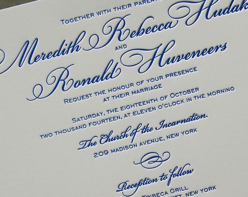 Letterpress Wedding Invitation Sample Classic Invitations Elegant