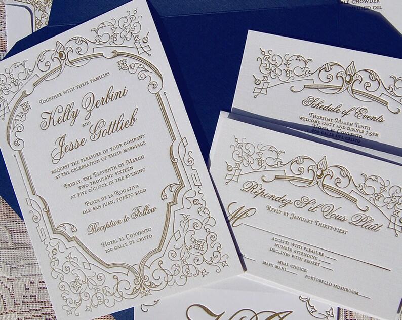 Letterpress Wedding Invitation Sample French Invitations Fleur De Lis Invite