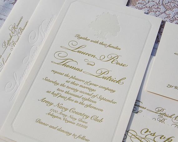 Large Letterpress Wedding Invitation Sample Gold Tree Suite Invitations Countryside