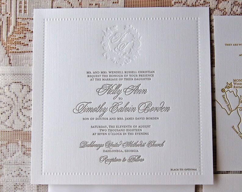Letterpress Wedding Invitation Sample Monogram Invitations Square
